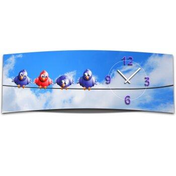 Wanduhr XXL 3D Optik Dixtime Himmel Vögel 30x90 cm leises Uhrwerk GL-003