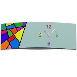 Wanduhr XXL 3D Optik Dixtime abstrakt Mosaik 30x90 cm...