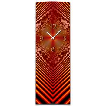 Wanduhr XXL 3D Optik Dixtime abstrakt rot 30x90 cm hochkant leises Uhrwerk GL-001H