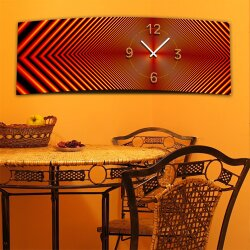 Wanduhr XXL 3D Optik Dixtime abstrakt rot 30x90 cm leises Uhrwerk GL-001