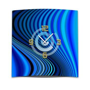 Wanduhr XXL 3D Optik Dixtime blaue Rippen 50x50 cm leises Uhrwerk GQ-039