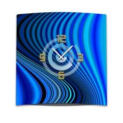 Wanduhr XXL 3D Optik Dixtime blaue Rippen 50x50 cm leises...