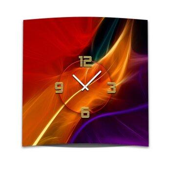 Wanduhr XXL 3D Optik Dixtime abstrakt orange Feder 50x50 cm leises Uhrwerk GQ-038
