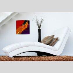 Wanduhr XXL 3D Optik Dixtime abstrakt orange Feder 50x50...