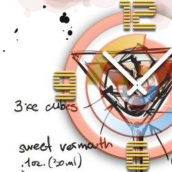 Wanduhr XXL 3D Optik Dixtime Cocktail Manhattan 50x50 cm leises Uhrwerk GQ-036