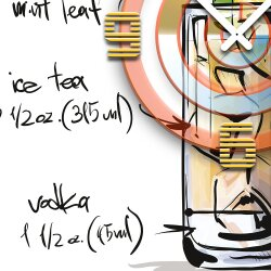 Wanduhr XXL 3D Optik Dixtime Cocktail Ice Pick 50x50 cm leises Uhrwerk GQ-035