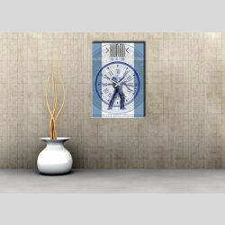 3856 Dixtime Designer Wanduhr, Wanduhren, Moderne Wohnraumuhr  50cm x 70cm