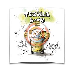 Wanduhr XXL 3D Optik Dixtime Cocktail Tequila Boom 50x50...