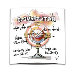 Wanduhr XXL 3D Optik Dixtime Cocktail Cosmopolitan 50x50...