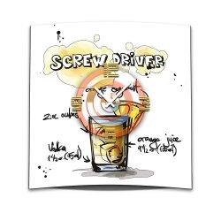 Wanduhr XXL 3D Optik Dixtime Cocktail Screwdriver 50x50...