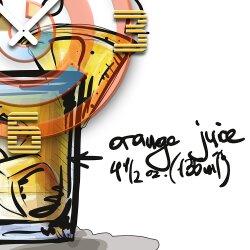 Wanduhr XXL 3D Optik Dixtime Cocktail Screwdriver 50x50 cm leises Uhrwerk GQ-027