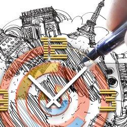 Wanduhr XXL 3D Optik Dixtime Stadt Zeichnung 50x50 cm leises Uhrwerk GQ-024