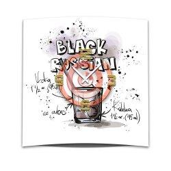 Wanduhr XXL 3D Optik Dixtime Cocktail Black Russian 50x50 cm leises Uhrwerk GQ-022