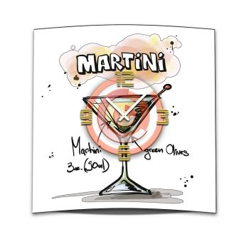 Wanduhr XXL 3D Optik Dixtime Cocktail Martini 50x50 cm leises Uhrwerk GQ-021