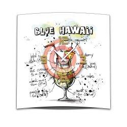 Wanduhr XXL 3D Optik Dixtime Cocktail Blue Hawaii 50x50...