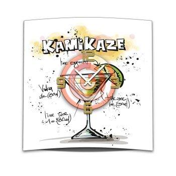 Wanduhr XXL 3D Optik Dixtime Cocktail Kamikaze 50x50 cm leises Uhrwerk GQ-019