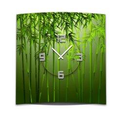 Wanduhr XXL 3D Optik Dixtime grüner Bambus 50x50 cm...