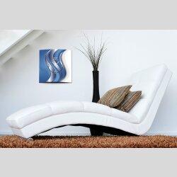 Wanduhr XXL 3D Optik Dixtime blau silber Wellen 50x50 cm...