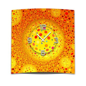 Wanduhr XXL 3D Optik Dixtime orange Punkte 50x50 cm leises Uhrwerk GQ-016