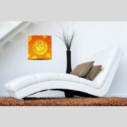 Wanduhr XXL 3D Optik Dixtime orange Punkte 50x50 cm leises Uhrwerk GQ-016