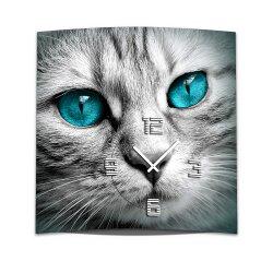 Wanduhr XXL 3D Optik Dixtime blaue Augen Katze 50x50 cm...