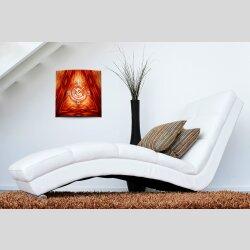 Wanduhr XXL 3D Optik Dixtime abstrakt rot orange 50x50 cm...