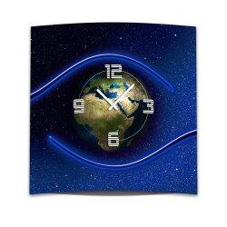Wanduhr XXL 3D Optik Dixtime Erdball 50x50 cm leises Uhrwerk GQ-013