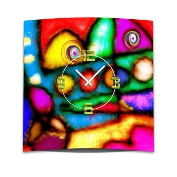 Wanduhr XXL 3D Optik Dixtime bunte Flicken 50x50 cm leises Uhrwerk GQ-010