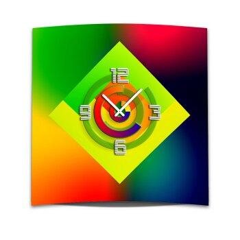 Wanduhr XXL 3D Optik Dixtime gruen rot blau 50x50 cm leises Uhrwerk GQ-009
