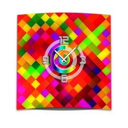 Wanduhr XXL 3D Optik Dixtime Mosaik rot 50x50 cm leises...