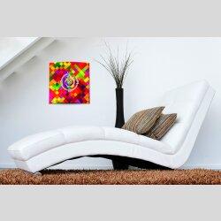 Wanduhr XXL 3D Optik Dixtime Mosaik rot 50x50 cm leises Uhrwerk GQ-008