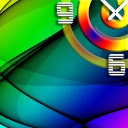 Wanduhr XXL 3D Optik Dixtime abstrakt bunt 50x50 cm leises Uhrwerk GQ-007