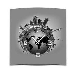 Wanduhr XXL 3D Optik Dixtime graue Stadt 50x50 cm leises...