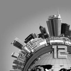 Wanduhr XXL 3D Optik Dixtime graue Stadt 50x50 cm leises Uhrwerk GQ-006