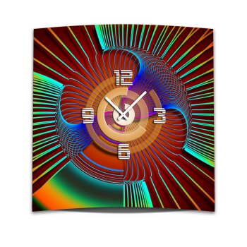 Wanduhr XXL 3D Optik Dixtime abstrakt 50x50 cm leises Uhrwerk GQ-005