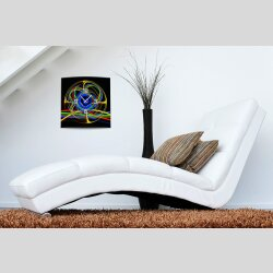 Wanduhr XXL 3D Optik Dixtime abstrakt bunt 50x50 cm...