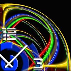 Wanduhr XXL 3D Optik Dixtime abstrakt bunt 50x50 cm leises Uhrwerk GQ-004