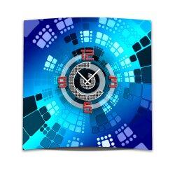 Wanduhr XXL 3D Optik Dixtime abstrakt blau 50x50 cm...