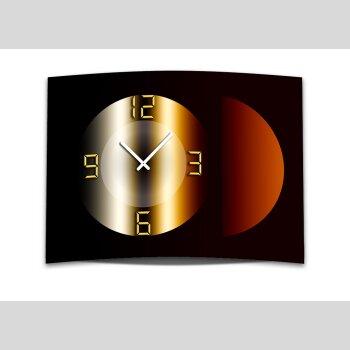 Wanduhr XXL 3D Optik Dixtime braun bronze Kreis 50x70 cm leises Uhrwerk GR-038