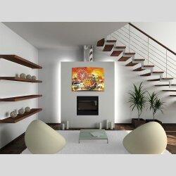 Wanduhr XXL 3D Optik Dixtime abstrakt orange 50x70 cm...