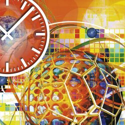 Wanduhr XXL 3D Optik Dixtime abstrakt orange 50x70 cm leises Uhrwerk GR-029