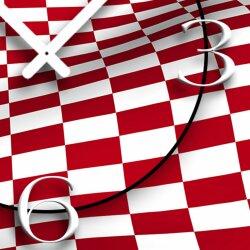 Digital Designer Art kariert rot/weiss Designer Wanduhr abstrakt modernes Wanduhren Design leise kein ticken DIXTIME 3D-0421