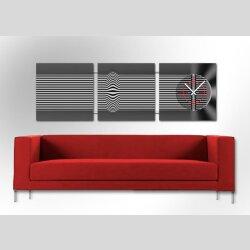 4477 Dixtime Designer Wanduhr, 3-Teiler, Wanduhren,...