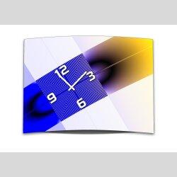 Wanduhr XXL 3D Optik Dixtime abstrakt blau gelb 50x70 cm...
