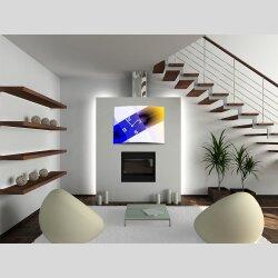 Wanduhr XXL 3D Optik Dixtime abstrakt blau gelb 50x70 cm leises Uhrwerk GR-035