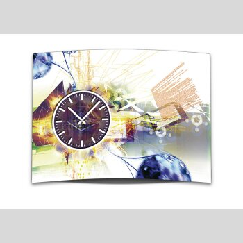 Wanduhr XXL 3D Optik Dixtime abstrakt hell weiß 50x70 cm leises Uhrwerk GR-030