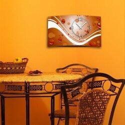 Digital Designer Art abstrakt orange Designer Wanduhr modernes Wanduhren Design leise kein ticken DIXTIME 3D-0386