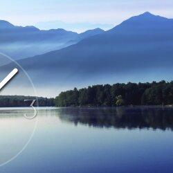 Wanduhr XXL 3D Optik Dixtime See Berge Wald 50x70 cm leises Uhrwerk GR-041