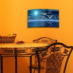 Digital Designer Art blue moon Designer Wanduhr modernes Wanduhren Design leise kein ticken DIXTIME 3D-0372