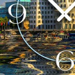 Digital Designer Art Düsseldorf Medienhafen Designer Wanduhr modernes Wanduhren Design leise kein ticken DIXTIME 3D-0371